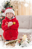 Festive little boy smiling at camera — Stock fotografie