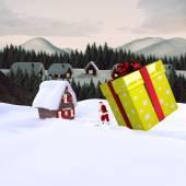 Santa delivering large gift — Fotografia Stock