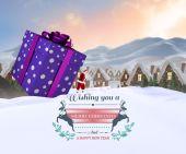 Santa delivering large gift — Stock Photo