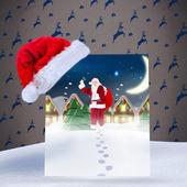 Santa delivery presents to village — Stock Photo