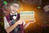 Geeky hipster holding retro radio — Zdjęcie stockowe