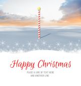 Happy Christmas against snowy landscape — Stock Photo