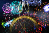 Composite image of clock counting down to midnight — Stock Photo