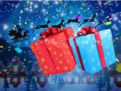 Santa flying behind big gifts — Stock Photo