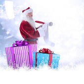 Father Christmas writes list — Stock Photo
