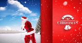 Santa claus pulling rope — Foto de Stock