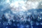 Composite image of cute village in the snow — Stok fotoğraf