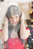 Pretty brunette in grey hat — Stock Photo