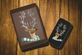 Hipster reindeer against tablet — Stockfoto