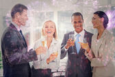 Smiling team of business people honoring — Stock Photo