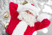 Happy santa lying and relaxing — Foto de Stock