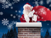 Santa carries his red bag — Stockfoto