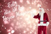 Santa shows something to camera — Fotografia Stock
