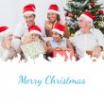 Little girl opening christmas present — Stock Photo #62500807