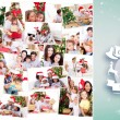 Collage of families celebrating christmas — Stock Photo #62503063