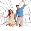 Cheerful young couple jumping — Stock Photo #62503095