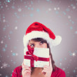 Portrait of a festive young woman holding — Stock Photo #62503301
