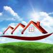 House roofs against green hill — Stock Photo #62504157