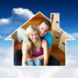 House frame in couple sitting on floor — Stock Photo #62505741
