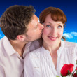 Woman getting roses from man — Stock Photo #62508319