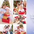 Collage of families celebrating christmas — Stock Photo #62508471