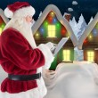 Santa uses a tablet PC — ストック写真 #62509089