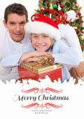 Father and his son holding Christmas presents — Stock Photo