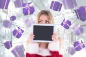 Santa girl holding tablet — Fotografia Stock