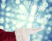 Santa Claus shows open hand — 图库照片