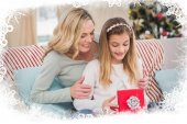 Daughter opening christmas gift with mother — Foto Stock