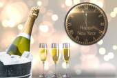 New year message against champagne — Stock Photo