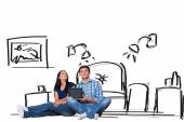 Couple sitting on floor with tablet — Stock Photo