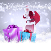 Santa asking for quiet with bag — Stock Photo