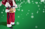 Father Christmas is wearing tool belt — Stock Photo