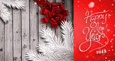 Wood with festive bow — Foto de Stock