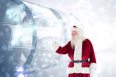 Santa shows something to camera — ストック写真