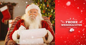 Santa writing list with quill — Stok fotoğraf