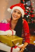 Festive brunette smiling at camera — Foto de Stock