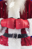 Santa Claus wears boxing gloves — ストック写真