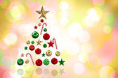 Composite image of christmas tree shape of baubles — Foto Stock