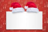 Santa hats on poster — Stock Photo