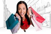 Femme debout avec des sacs à provisions — Photo