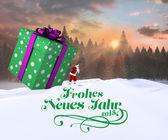 Santa delivering large gift — Photo
