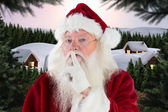 Santa asking for quiet — Stockfoto
