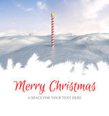 Merry Christmas against snowy landscape — Foto Stock