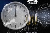 Composite image of clock at midnight — Stock Photo