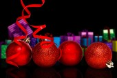 Four red christmas ball decoration — Stock Photo