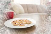 Cookies and mug on coffee table — Stockfoto