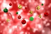 Composite image of digitally generated hanging christmas decorat — Stock Photo