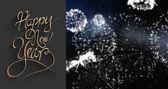 New year greeting against fireworks — Zdjęcie stockowe